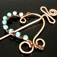 Wire Wrapped Turquoise Heart Eco-Friendly Copper Shawl Pin, Scarf Pin, Brooch