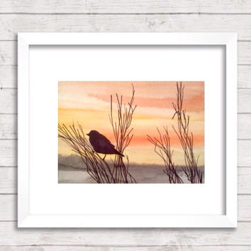 Watercolor landscape Painting, Sunset painting, watercolor landscape, original painting, not a print. Bird and soft hues make a peaceful set