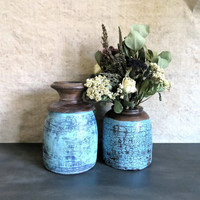 Pair of Antique Indian Painted Vases - Blue Polychrome Victorian Wood Jars from India - c. 1850