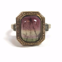 Unusual 10K Yellow Gold Tri-Colored Tourmaline and Diamond Ring Size 5.5