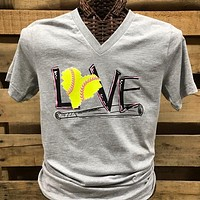 Southern Chics Apparel Love Softball Canvas Girlie V-Neck Bright T Shirt