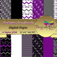 80% OFF Sale Anchoring Love Purple Black ,paperpacks, commercial use, digital scrapbook papers, vector graphics, printable, Instant Download
