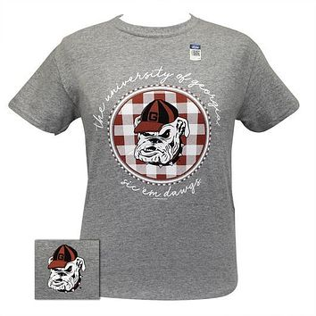 Georgia Bulldogs Buffalo Plaid Logo Sports Grey T-Shirt