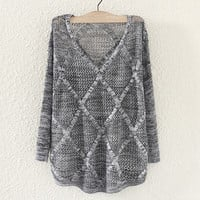Cute Womens Hollow Out Pullover Sweater