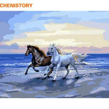 CHENISTORY Frameless DIY Painting By Numbers Running Horse Seaside Modern Wall Art Picture Hand Painted Home Decoration 40x50cm