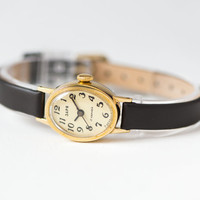 Oval women's wristwatch, gold plated lady watch Dawn, small watch beige face, urban fashion watch her, genuine leather strap new