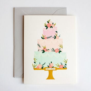 Wedding Card - congratulations card just married card bride and groom card congrats wedding card wedding cake card greeting card pastel