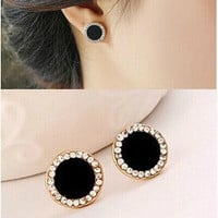 Fashion vintage gold plated black earrings Elegant rhinestone crystal stud earrings for women jewelry accessories (With Thanksgiving&Christmas Gift Box)(Color: Black) = 1668694340