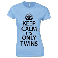 Bang Tidy Clothing Women's Keep Calm Its Only Twins Funny T Shirt = 1946826308