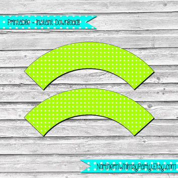 Neon Lime Green Polka Dot Printable Cupcake Wrapper Set –  DIY printable party supplies – birthdays & showers - INSTANT DOWNLOAD