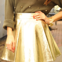 Holiday Shimmers Skirt: Metallic Gold