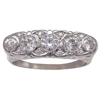 Art Deco Old European Cut Diamond Platinum Band