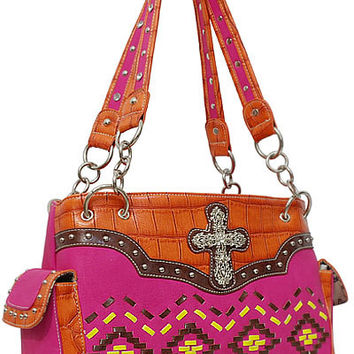 Aztec Cross Leather Designer Fashion Bling Western Stitch Rhinestone Stud Trendy Purse Handbag Orange Pink Brown Yellow