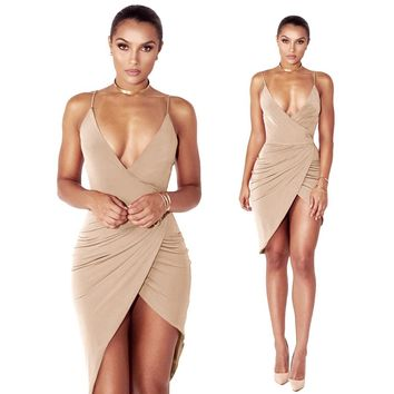 V-neck Backless Spaghetti Strap Bodycon Sheath Knee-length Dress
