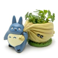 Mini My neighbor Blue Totoro figurines with bag  flower pot toy set 2016 New Japanese anime totoro action figure home decoration