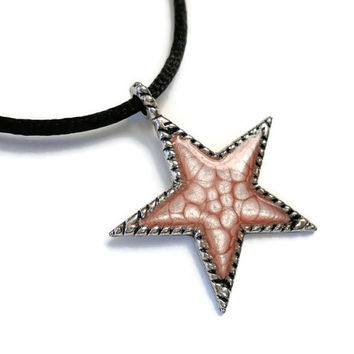 Star Pendant, Star Necklace, Pink Star, small star jewelry, hand painted jewelry, puffy star, pale pink, pink and black, boho necklace