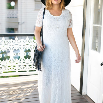 White Lace Cutout Back Long Dress