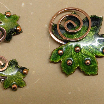 Matisse Leaf Brooch and earrings set.  Green enamel, copper. Signed