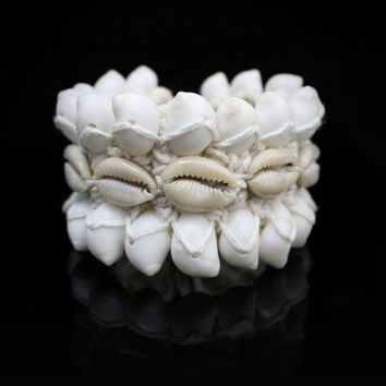 Armlet White Shell Woven Armband/Bracelet Pure White Tribal Natural Curled Seashell Bracelet Fiesta Costume ArmCuff Body Jewelry Accent Boho
