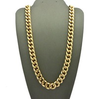 "Men 80's Hip Hop Rapper Style 10mm 30"",36"" Cuban Link Chain Necklace N0082M"