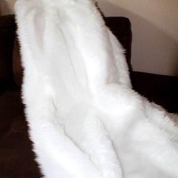 5' x 6' Luxury faux fur throw blankets shaggy fake fur comforter bed couch sofa living room