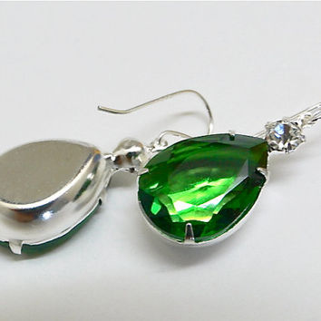 Jolie, Emerald Green Rhinetone Teardrop earrings. Faceted pear drop.