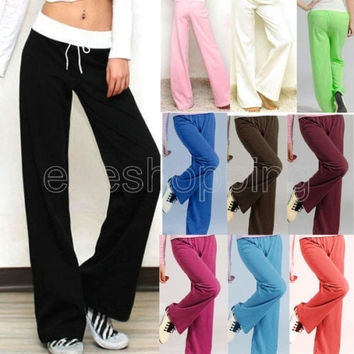 Women Lady Casual Petites Yoga Sweat Jogger Lounge Long Pants Athletic Cotton Loose Sports Pants Sportwear = 1933308164