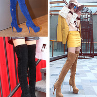 Womens Stylish Thigh High Riding Dress Heel Boots