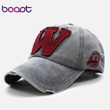 [boapt] patchwork ripped cotton embroidery letter casual summer baseball cap vintage snapback hip hop caps women hats for men