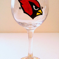 Arizona Cardinals Wine Glass - NFL - Sports - Hand Painted - Custom Teams