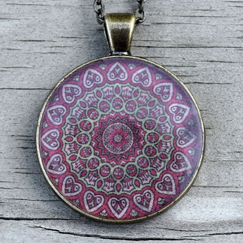 Red Gypsy Mandala Pendant Necklace