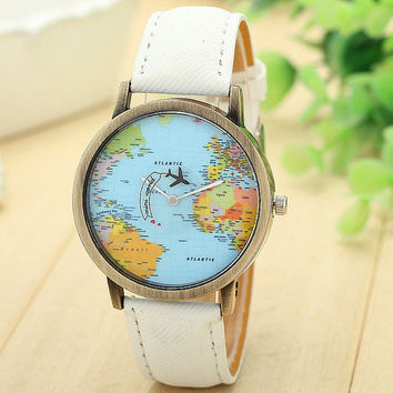 New Map Watch Denim Fabric Band Global Travel By Plane