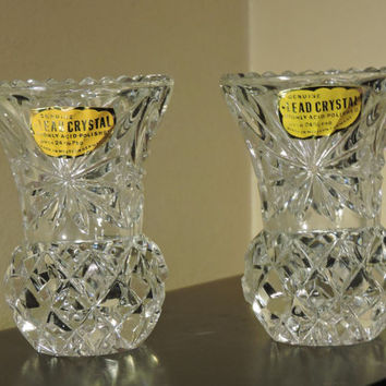 Genuine Lead Crystal Highly Acid Polished Over 24% PbO Western Germany Bud Vases Pair with Foil Labels