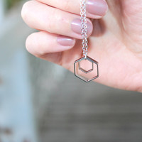 Silver Honeycomb necklace - hexagon necklace, modern geometric necklace, everyday necklace honey comb