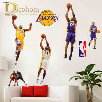 NBA Los Angeles Lakers Kobe Bryant Basketball Player Wall Sticker Vinyl Art Decals Wall Poster Kids Room Decoration