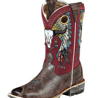 Ariat Women's Rodeobaby Roundup Boot - Wrangled Brown/Red