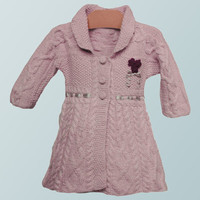 High fashion handknit Baby Alpaca pink coat with cables for girls