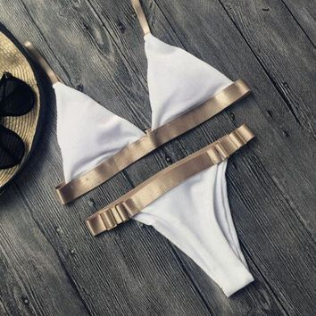 Fashion Gold Edge Metal Buckle Beach Bikini Set Swimsuit Swimwear