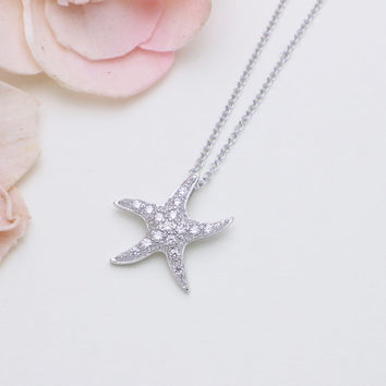 925 sterling silver cubic zirconia Starfish necklace