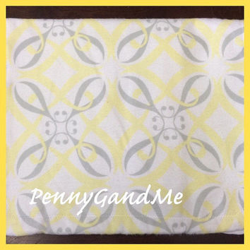 Personalized Yellow and Grey Burp Cloths ~ Grey and Yellow Burp Cloths ~ Baby Girl Burp Cloths ~ Cloth Diaper Burp Cloths