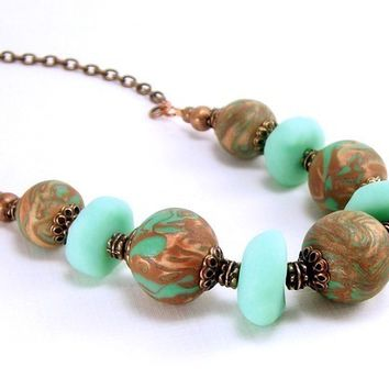 Polymer Clay and Copper Beaded Necklace, Mint Green Brown and Copper