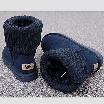 Kalete UGG Boots Women Boots Winter Warm Fashion Thread curl boots Navy blue