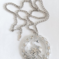 """Vintage Sarah Coventry Gold Tone Swan Pendant Necklace with Blue Rhinestone Eye and Clear Rhinestones in Silver Metal on 24"""" Curb Chain"""