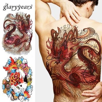 1 Sheet Big Large Full Back Chest Tattoo Sticker Wolf Tiger Dragon 20 Designs Body Art Temporary Waterproof for Women Men Tattoo