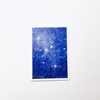 Original Artist Trading Card, Space ACEO, Starry Blue Nebula, Night Sky