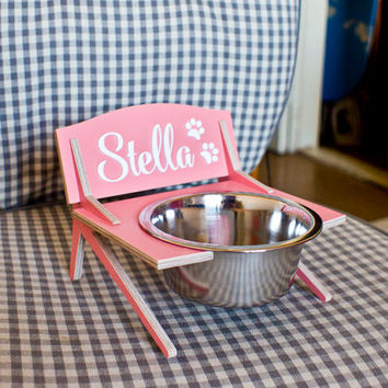 Small personalized custom dog cat elevated pet feeding bowl stand feeder holder 2 2/3'' high 15 oz bowl