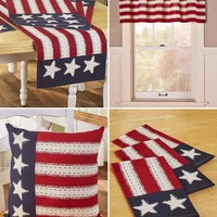 Patriotic American Home Decor Valance Accent Pillow Place-mats Table Runner