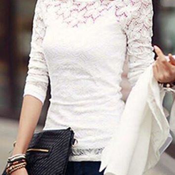 Spaghetti Strap Tank Top with Long Sleeve Lace Blouse Twinset