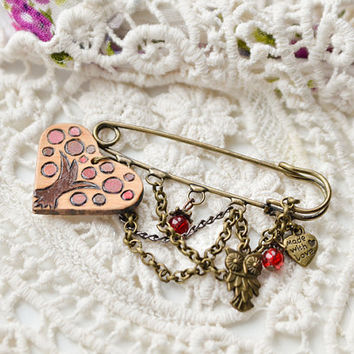 Pretty Heart and Tree Charm Safety Pin Brooch - Red Charms Brass brooch for Mom - Owl and Heart Brooch