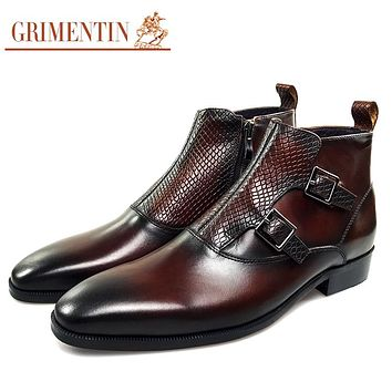 men ankle boots genuine leather luxury buckle business shoes with zipper